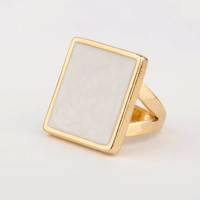 Keggy - Square Enamel Ring (White)