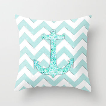 Sail with Me | Glitter nautical anchor, teal blue chevron pattern Throw Pillow by Girly Trend | Society6