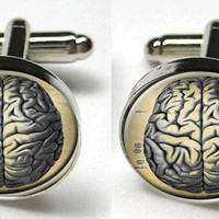 Silver Bezel CuffLinks Glass Round -Human Anatomy Brain Weird Cool Science
