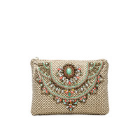 Arla Embroidered Clutch in Khaki