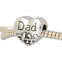 European Charm Metal Bead Dad
