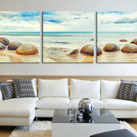 Canvas Art Moeraki Boulders - Ocean Seascape Panorama at Moeraki Boulders - Large Square Canvas Print
