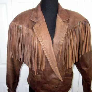 Vintage Fringed Brown Leather Jacket Rocker Motorcycle Cropped Leather with Fringe Womens M Medium Snap Closure Tie Back and Sleeves