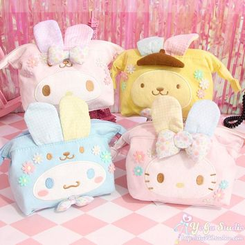 Super Cartoon Easter Hello Kitty My Melody Cinnamoroll Pudding Dog Anime Purse Cosmetic Bag Girls Children Gifts 15CM*13CM