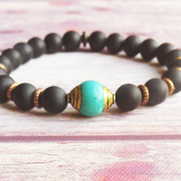 Nepalese Capped Turquoise Guru Bead Mala Bracelet,Frosted Matte Black Onyx Beaded Mala, Buddhist Bracelet, Communication Protection