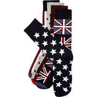 River Island MensNavy stars and stripes mixed socks pack