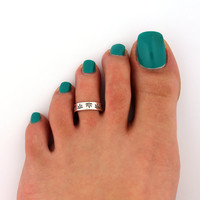 sterling silver toe ring Weed Leaf  design toe ring adjustable toe midi ring (T-54) also knuckle ring