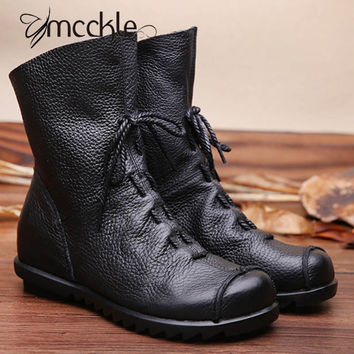 MCCKLE 2017 Women's Vintage Genuine Leather Boots Spring Autumn New Fashion Platform Ankle Boots Casual Cowboy Boots Shoes Woman