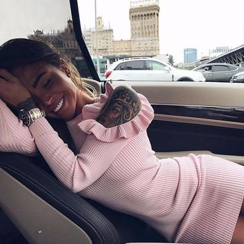 Open-Shoulder Knit Sweater Dress