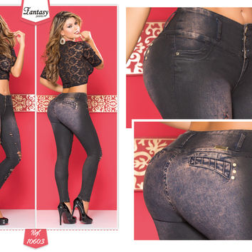 Black Denim 100% Authentic Colombian Push Up Jean 10603  by Fantasy