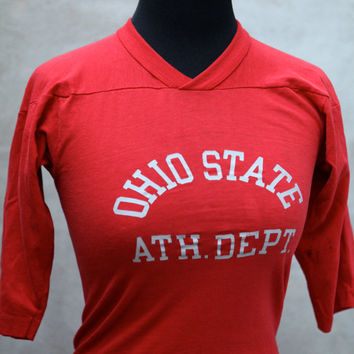 vintage OHIO STATE Athletic Department Shirt - 1970's Jersey - Champion Blue Bar - Size Extra Small
