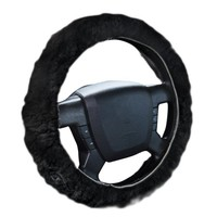 Zone Tech Plush Genuine Sheepskin Stretch On Vehicle Steering Wheel Cover Black Car Wheel Protector - Walmart.com