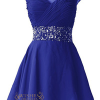 Beaded Cap Sleeves Illusion Top Short Homecoming Dresses Am72