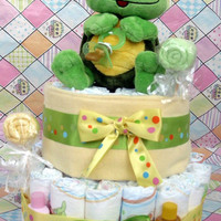 Diaper Cake Turtle Boy Girl 2 Tier