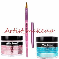 Mia Secret Acrylic Nail Powder Clear + Multibalance 2 oz + Kolinsky Brush# 8 OR