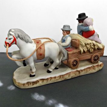 1987 Lefton Figurine Horses Pulling Hay Wagon with Couple