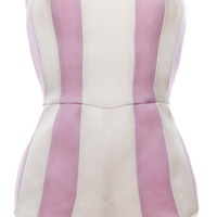Gardenia White And Lavender Pink Stripe Body Suit by Esme Vie - Moda Operandi