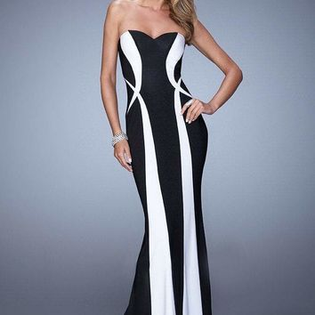 La Femme - 21028 Strapless Two-Tone Fitted Gown
