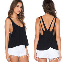 Summer Backless Sexy Criss Cross Back Sexy Spagehetti Strap Shirt Top