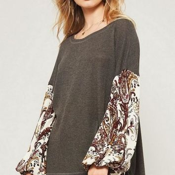 Paisley Print Puff Sleeve Top in Charcoal