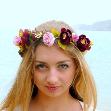 Flower Crown, dark red peonies, pink roses Woodland Halo, Floral Crown, Bohemian headpiece, Boho flower,  Girls flower crown,  Wedding Hair