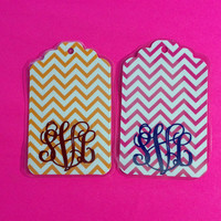 Two Chevron Monogrammed Luggage Tags by SunshineVinyl on Etsy