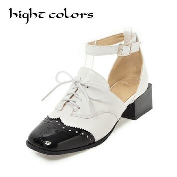 Fashion Gold sliver Spell color PU Leather Oxford Shoes For Women Square Toe Casual Flat Shoes Women Ankle Strap Plus Size 43