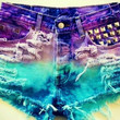 turquoise and purple studded high waisted levi shorts