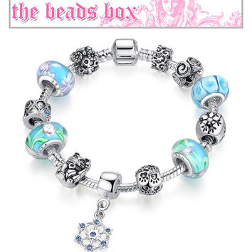 PA1450 Snowflake Blue Charm Bracelet 925 Sterling Silver Murano Glass & Crystal Beads + Free Shipping