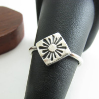 Sterling Silver Sun Ray Ring Stacking Ring Tribal Sun Ring Size 9 Silver Ring PMC Jewelry Gifts Under 50 Sunburst Ring
