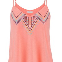 Ethnic Embroidered Tank With Built-In Shelf Bra - Pink