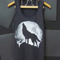 Wolf moon tank top size S/M/L/XL Light black shirt Unisex Women tshirts, Men singlet, t shirts