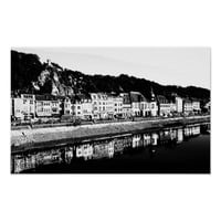 French Village By Ocean Abstract Art Poster