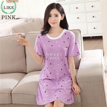 LIKEPINK 2017 Summer Women Nightgowns Cotton Nightwear O-neck Short Sleeve Cartoon Printing Lingerie Sleeping Dress For Female