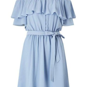 Blue Cold Shoulder Ruffle Dress