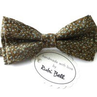 Bow Tie - light brown bow tie - wedding bow tie - light brown bow tie with grey and golden pattern - man bow tie - men bow tie