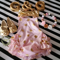 Pink Gold Baby Rompers - Cute Pink and Gold Polka Dot Baby Girl Toddler Girl Little Girl Ruffle Sunsuit Romper Size 3M to 4 Years