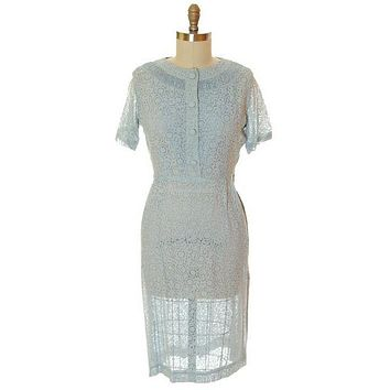 Vintage Pale Blue Sheer Day Dress Clayton 1950s Med