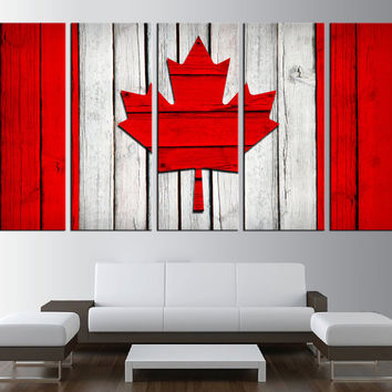 large canvas textured canadian Flag wall art, extra large wall art, canadian flag on wood canvas print art, large canvas print art,  t157