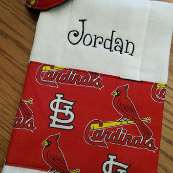 Baseball Baby Cardinals White Sox or Cubs CREATE a BaBy Shower Gift Set!  Personalized Burp Cloths Pacifier Pouch Pods Pee Pee Tee Pees