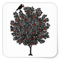 Raven Decorates Christmas Tree Square Sticker