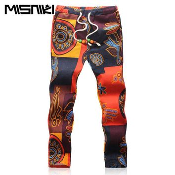 b3b605872 Summer Designer Linen Pants Men Printing Casual Jogger Pants Boys