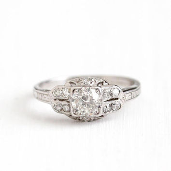 Antique Platinum Art Deco .70 CTW Diamond Ring - Size 7 1920s Vintage Filigree Engraved Fine Engagement Bridal Wedding Jewelry w/ Appraisal