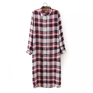 Summer Women's Fashion England Style Vintage Plaid Long Sleeve Blouse Prom Dress One Piece Dress [4920618564]