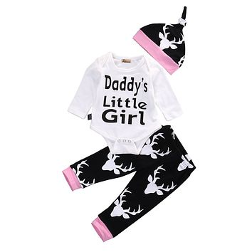 New baby boy clothing set Baby Girls Long Sleeve Tops Romper +Long Pants Hat newborn baby boy clothes