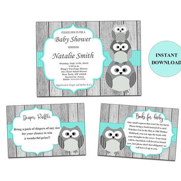 Owl Baby Shower Invitation with Book Request Inserts and Diaper Raffle Cards Gender Neutral Baby Shower Girl Boy Instant Download (01ow)