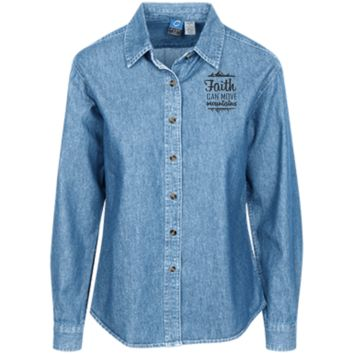 Faith Can Move Mountains Women's LS Denim Shirt