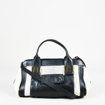 "Chloe Black & Cream Printed Lizard Leather ""Mini Alice"" Satchel Bag"