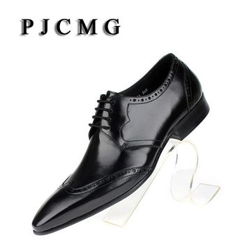 PJCMG New First Layer of Cowhide Men's Pointed Toe Formal Business Genuine Leather Wedding Casual Flat Patent Oxford Men Shoes