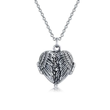 Guardian Angel Wing Feathered Heart Necklace Locket Photo Holder